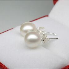 Genuine 7-8MM Sterling Silver Freshwater White Akoya Pearl Stud Earring
