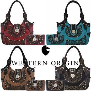 Elephant Rhinestone Studded Western Style Concealed Carry Purse Handbag Women Shoulder Bag Wallet Set