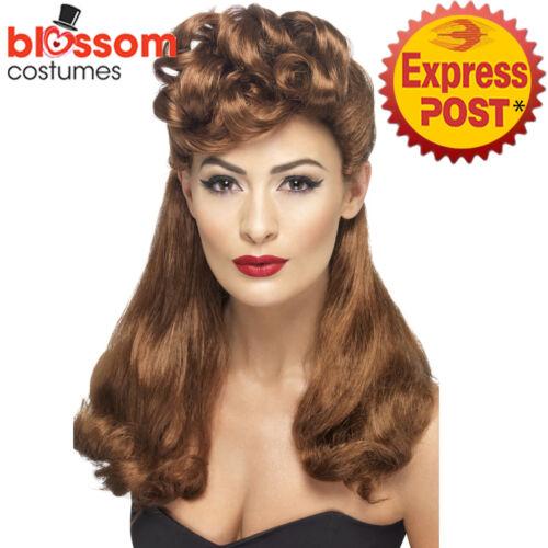 W478 1940s Auburn Vintage Wig Top Curls Decades War WW2 Pin Up 40s 50s Costume