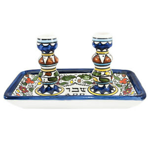 Shabbat-and-Holidays-Holy-Painted-Colorful-Ceramic-Candlesticks-on-Plate-Israel