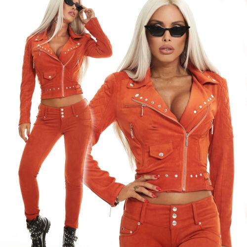 By Alina 2-Diviseur Veste Femmes Blazer Röhrenhose Tailleur-pantalon daim-Look Xs S M