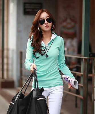 Korea Fashion Women Casual Solid Long Sleeve Hooded T-Shirt Basic Tops Blouse