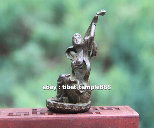 8 CM Chinese Pure Bronze Guanyin Bodhisattva Sarasvati Kwan-yin pipa sculpture