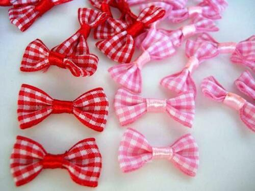 """40 Red,Pink Gingham Check Plaid Ribbon 1/"""" Bow Tie Applique//Craft//Trim F53-Color"""
