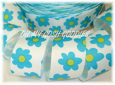 1.5 GROOVY TURQUOISE LIME FLOWERS SUMMER BRIGHT GROSGRAIN RIBBON 4 HAIRBOW BLUE