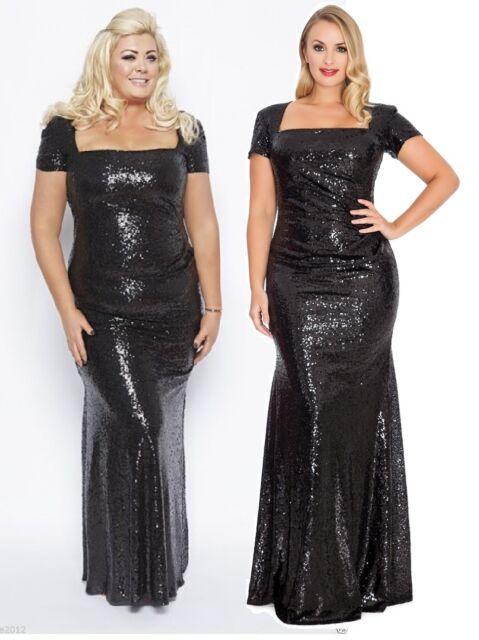 Gemma Collins Style Black Sequin Square Long Evening Dress Gown ...