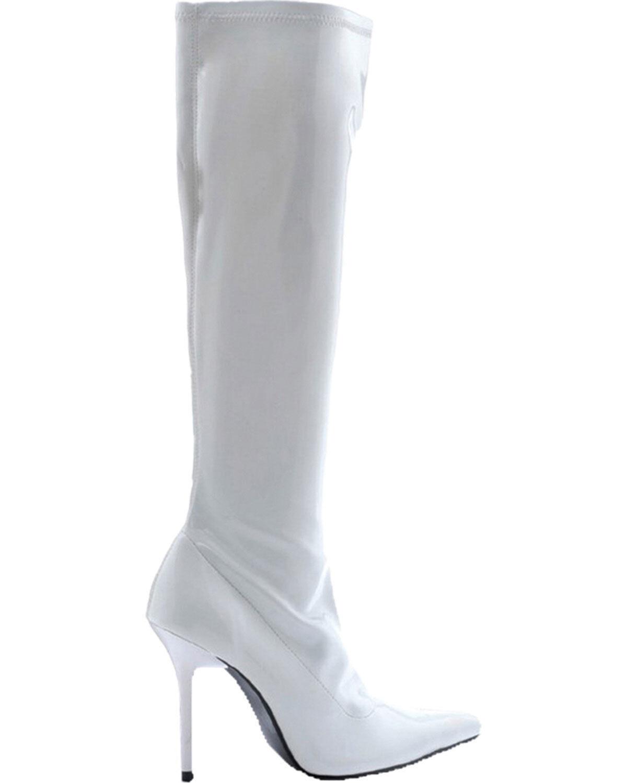 Morris Costume Women's Pull on Patent Emma Knee Length Boots White 10. HA131WT10