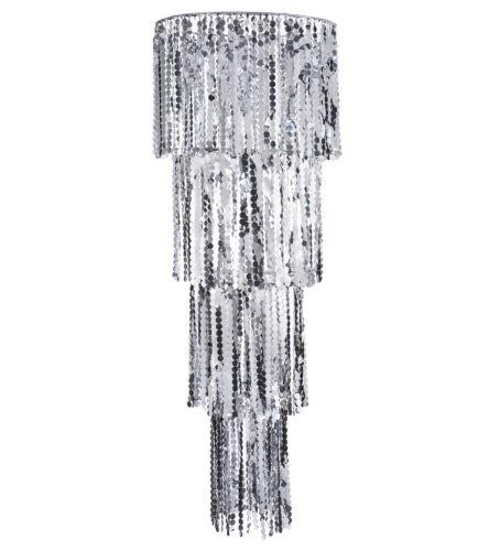 Silver 200cm long x 75cm wide Giant Sequin Chandelier