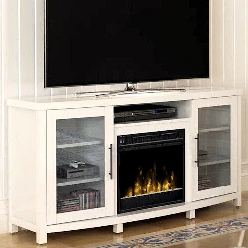 Electric Fireplace Tv Stand White Media Wood Console Heater