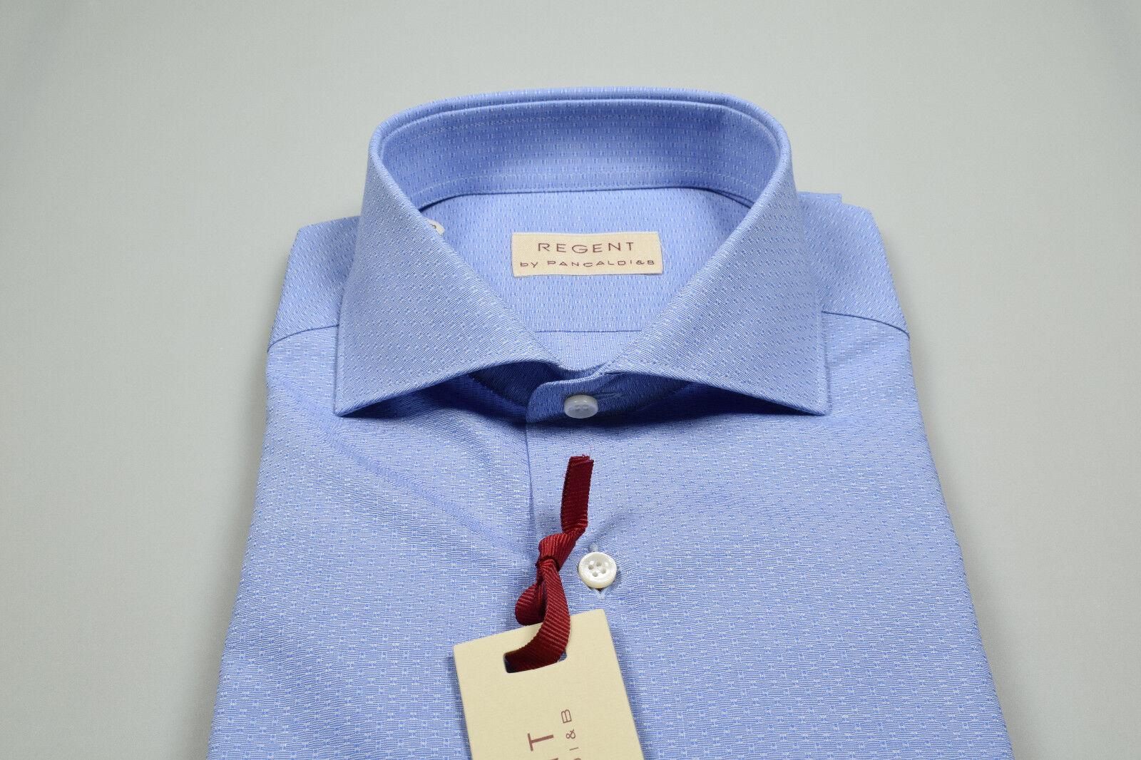 huge discount ea6dc fd949 Camicia Azzurra con disegno piccolo Pancaldi Slim Slim Slim ...