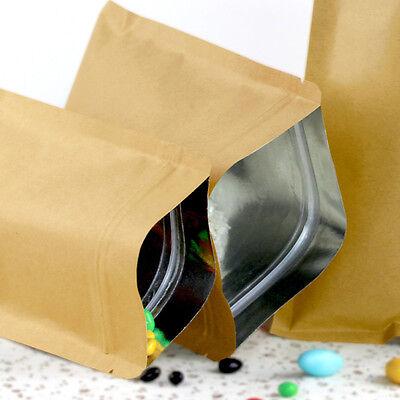 Brown Kraft Paper Bags Aluminum Foil Resealable Zip Lock Packaging Gift Pouch