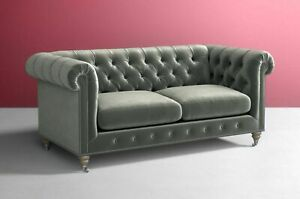 Details about contemporary Classic Chesterfield Sofa Grey Plush Velvet 4 3  2 Seater Settee