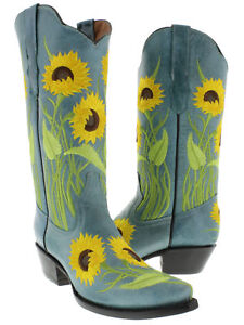 b59268a7c72 Womens Turquoise Sunflower Embroidered Leather Cowgirl Boots Snip ...