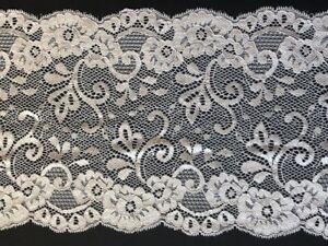 "laverslace Slate Grey Animal Leopard Print Wide Stretch Lace Trim 7.5/""//18.75cm"