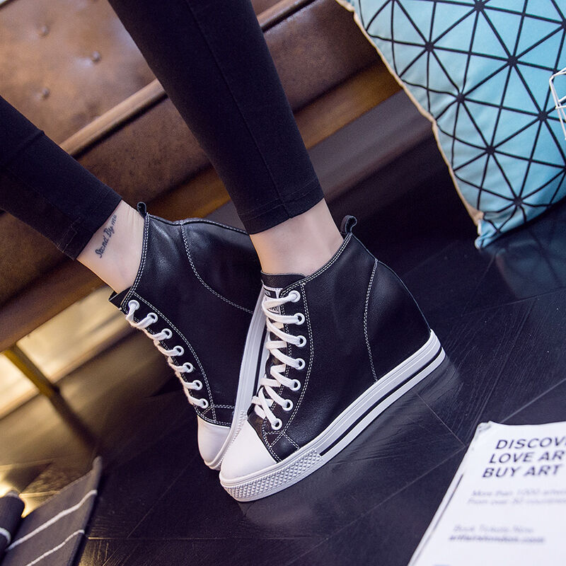 Women's Hidden Wedge Lace up Canvas shoes High Top Fashion Sneakers Students SZ