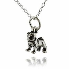 Tiny Pug Dog Necklace - 925 Sterling Silver - 3D Animal Charm Dogs Pets Gift NEW