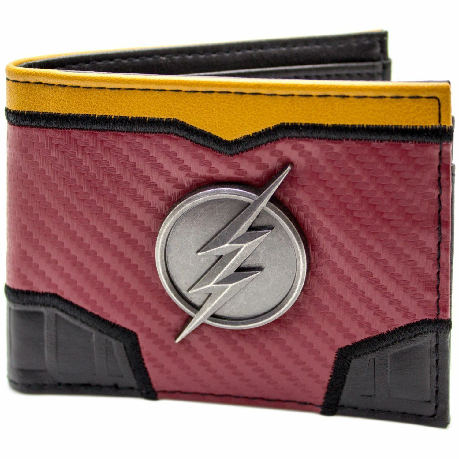 Official Dc Flash Suit Up Silver Lightning Badge Red Card Bifold Wallet *SECOND*