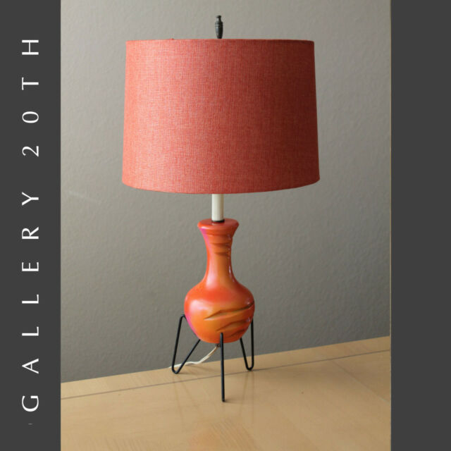 MID CENTURY MODERN SPUTNIK ATOMIC ORANGE TRIPOD LAMP! 1950'S EAMES VTG UFO LIGHT