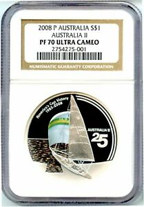 2008 $1 25th Anniversary Australia/'s Americas Cup Victory 1 oz Silver Proof Coin