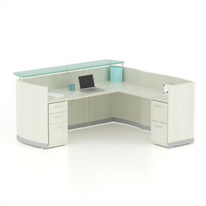 Reversible Sea Salt Laminate L Shape Reception Desk