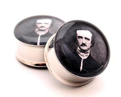 Pair of Edgar Allan Poe Picture Plugs gauges Choose Size new