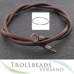 NEU-TROLLBEADS-Lederkette-braun-45-cm-Leder-Kette-Leather-chain