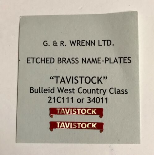 WRENN Etched model railway Name Plates Bulleid TAVISTOCK