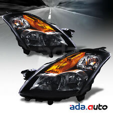For 2007-2009 Nissan Altima 4Dr Sedan Black Headlights Replacement Lamps Set