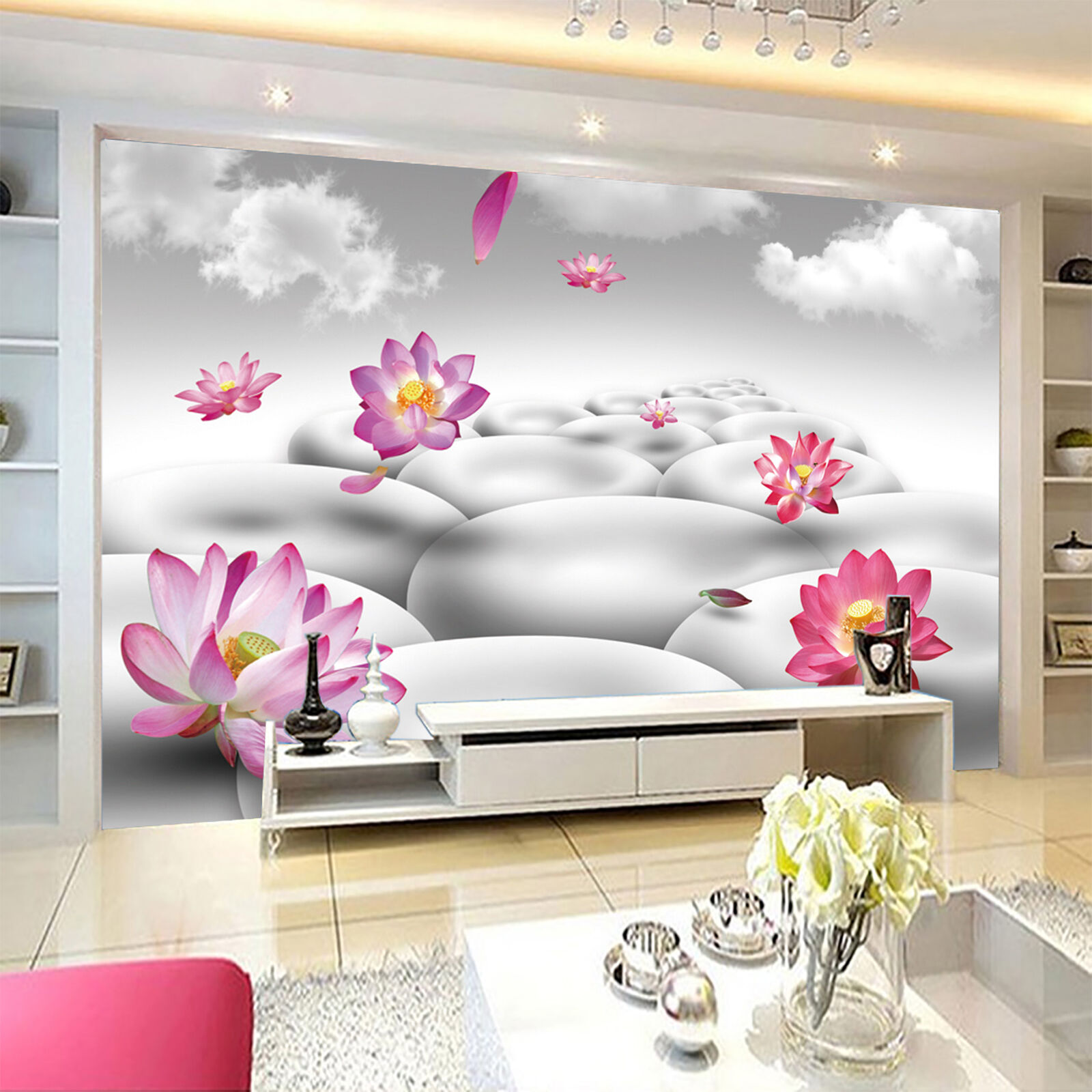 3D Weiß coulds lotus Wall Paper Print Decal Wall Deco Indoor wall Mural