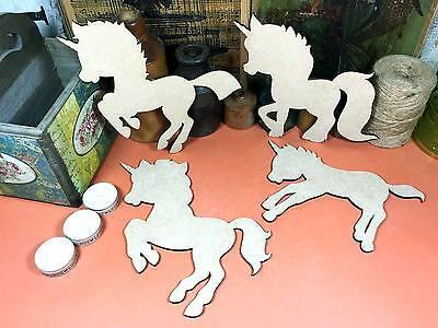 UNICORN WOODEN MDF LITTLE PONY Shapes 20cm (x4) fairytale wood shape craft gift