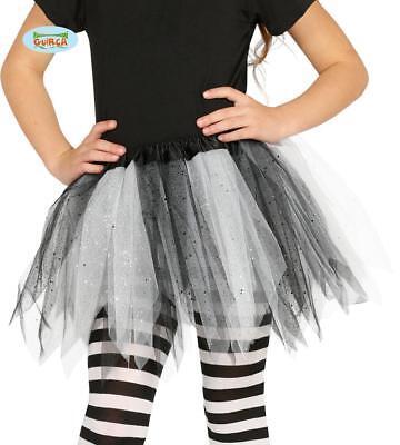 Tütü Tutu schwarz-weiß mit Glitzer für Kinder Fee Ballett Party Rock Tänzerin ca