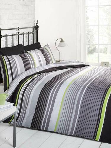 Mono King Rapport Quilt Bedding Set Striped Duvet Covers Pillowcase Pair Set New