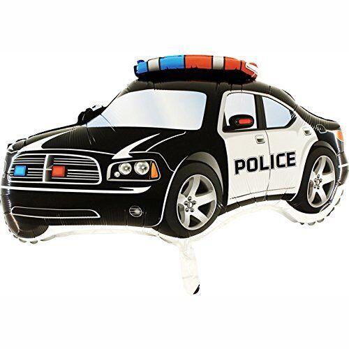 "Boys Birthday Balloons 37/"" Black Police Car Supershape Foil Balloon CS70"