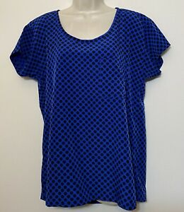 NWT Gap Medium Blouse Blue & Black Polka Dot Short Sleeve Relaxed Fit Top