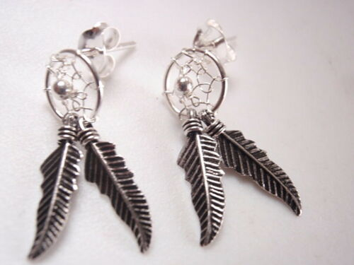 Dream Catcher Stud Earrings 925 Sterling Silver with One Caught Dream