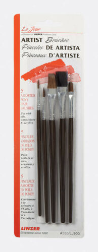 LINZER Pony Hair Art Paint Brush Set 5-Piece A555 NEW