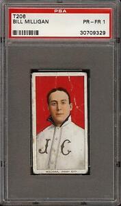 Rare 1909-11 T206 Bill Milligan Polar Bear Back Jersey City PSA 1