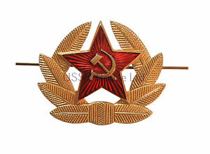Soviet-Russian-Army-Red-Star-Hammer-amp-Sickle-Hat-Badge-USSR-Military-Cockade
