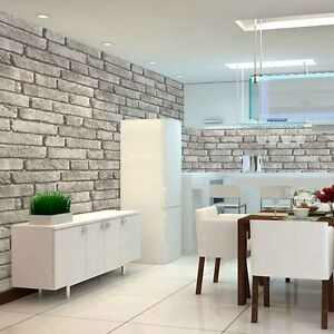 Vintage Faux Brick 3D Wallpaper for Home Lt.Grey Wall ...