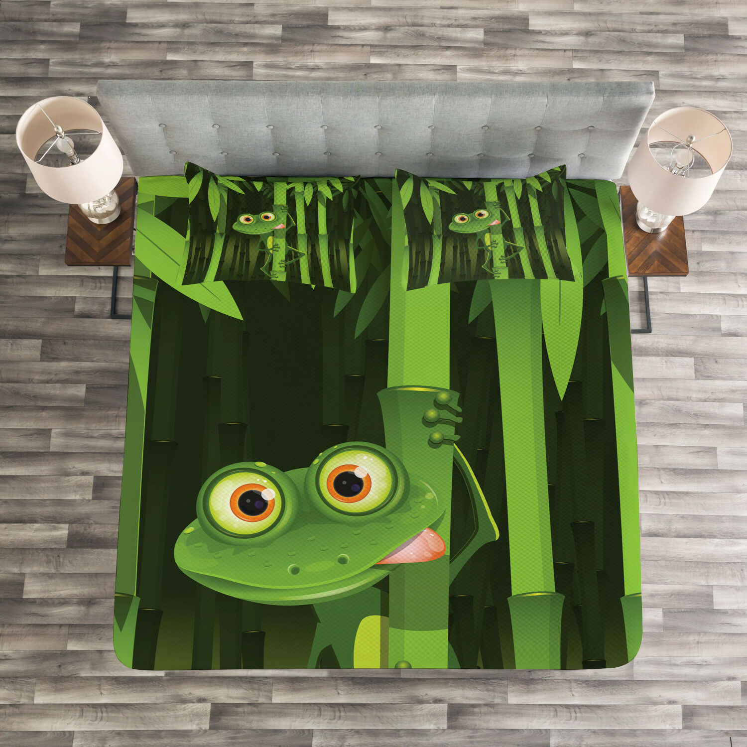Bamboo Quilted Bedspread & Pillow Shams Set, Jungle Trees Fun Frog Print