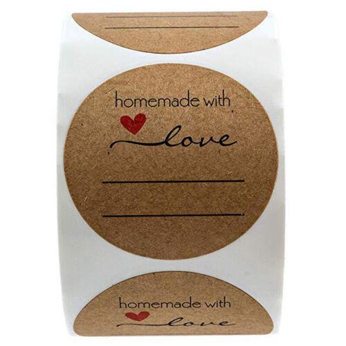 500pcs//roll Kraft Paper Labels Sticker Homemade With Love Scrapbooking Sticke QA