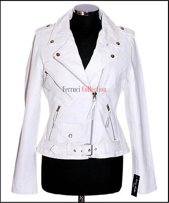Details zu Leder Jacke Damen Brando Weiß Neu Biker Stil Modisch Echt Rindsleder Lederjacke