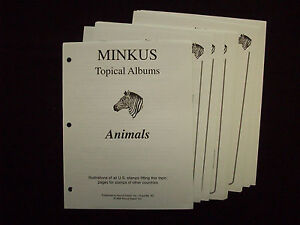 Minkus 50 Topical Album Pgs 45 Stamps Animals 8 12 X 11