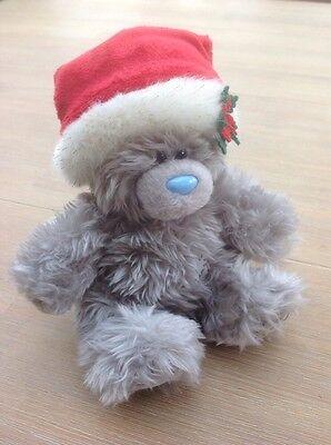 """""""me To You 'orso Grigio Con Un Cappello Di Natale In Carta Bianca. Piccoli 5 Ins/13 Cm-mostra Il Titolo Originale Superficie Lucente"""