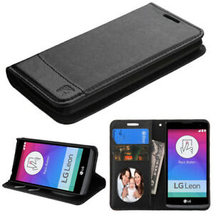BLACK-For-LG-Tribute-2-Tribute-Duo-Risio-Leather-Flip-Wallet-Case-Cover-Stand
