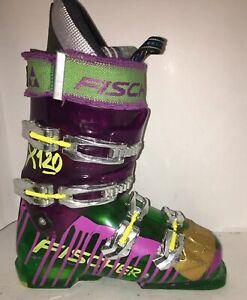 Fischer-x120-Downhill-Ski-Boots-Sz-26-5-Men-039-s-8-5-Green-Purple