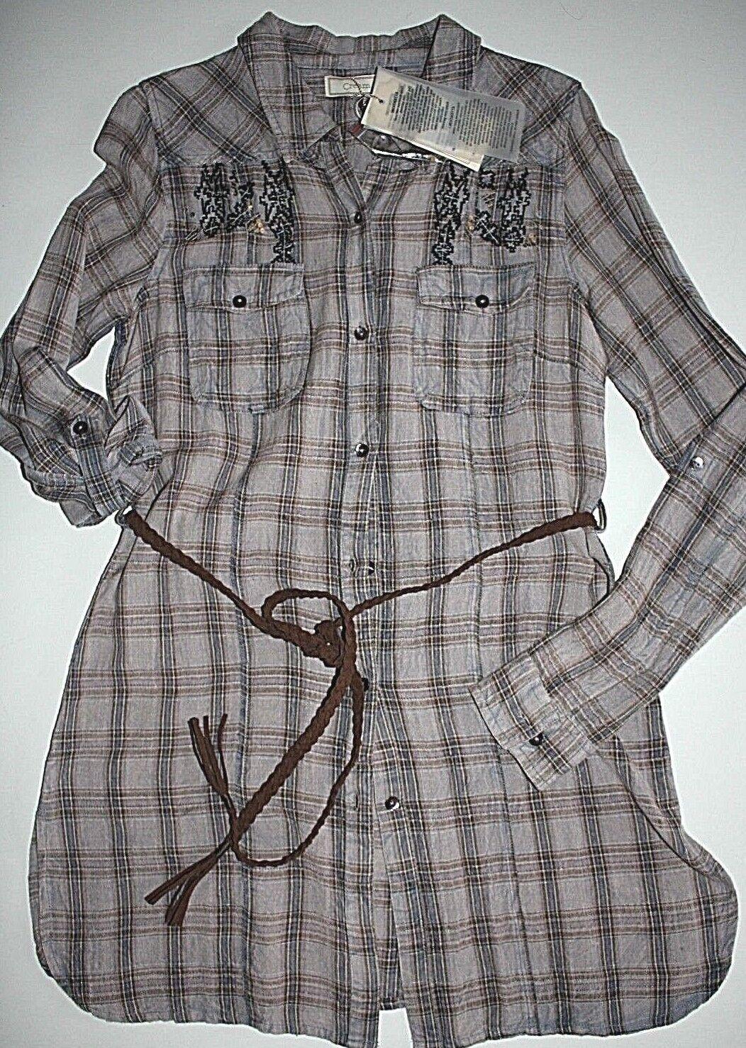 Cream DK  Hemdkleid Quadro Shirt Langarm mit Gürtel Old Rosé size 36 Neu