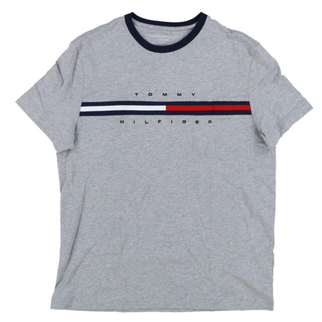 ecfbcdca8b7 Tommy Hilfiger Mens Crew Neck T-shirt Short Sleeve Graphic Tee Flag ...