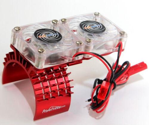 Red Power Hobby Aluminum Motor Heatsink /& Twin Cooling Fan Slash 4WD