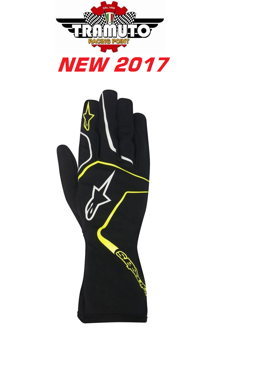 ALPINESTARS 2017 GUANTI TECH 1 K RACE GLOVES NERO GIALLO FLUO
